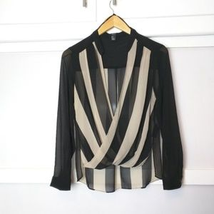 Forever 21 Long Sleeve Draped Striped Blouse Small